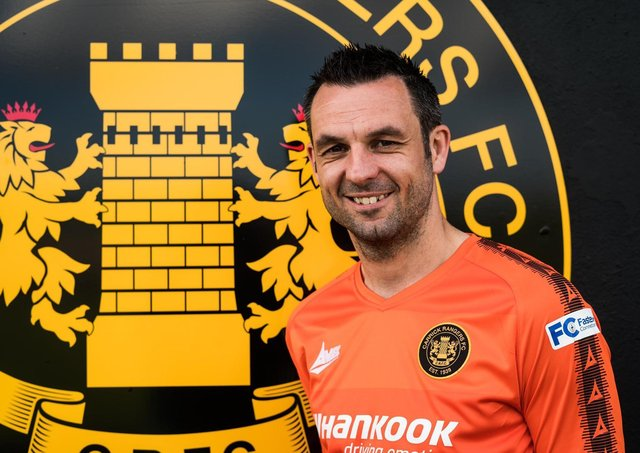 Jim Ervin celebrates his move to Carrick Rangers. Pic courtesy of Carrick Rangers FC.