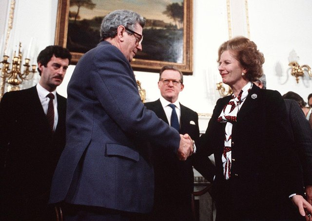 Garrett Fitzgerald and Margaret Thatcher sign Anglo Irish Agreement. It gave a country which had a hostile territorial claim over Northern Ireland, and which harboured terrorists, a formal role in NI. But the Protocol repeals the Act of Union and creates an economic united Ireland