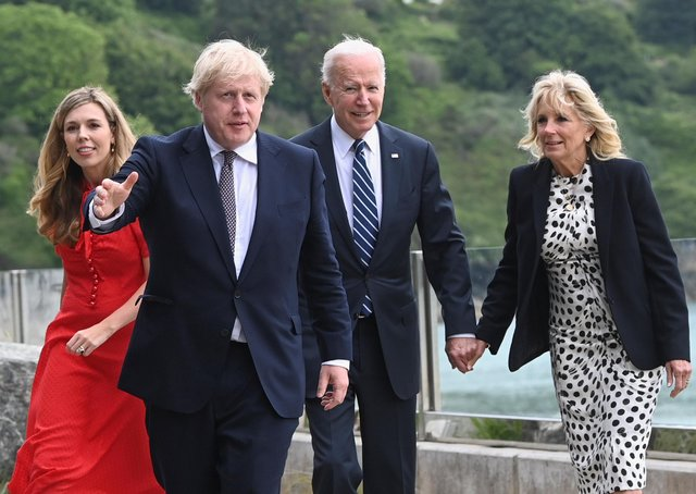 (Left to right) Carrie Johnson, Prime Minister Boris Johnson, US President Joe Biden and First Lady Jill Biden walk outside Carbis Bay Hotel, Carbis Bay, Cornwall, ahead of the G7 summit in Cornwall. Picture date: Thursday June 10, 2021. PA Photo.