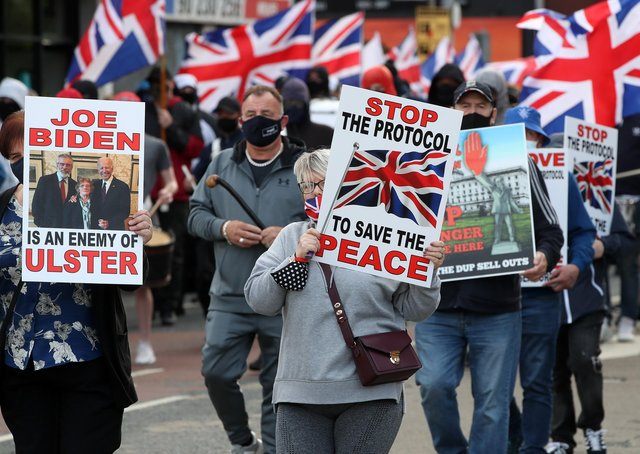 People protesting against the NI Protocol on Belfast's Shankill Road on 10 June 2021. Photo: Presseye