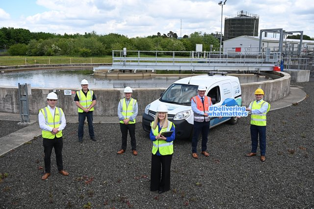 Stephen Flynn RPS, Sean McAuley, Ciaran Nicell,  NI Water, Professor Adele Marshall Advanced Analytics, Neil McKenzie Lagan MEICA and Martin McCartan from Analytics Engines get to work on innovation and efficiencies in the water and wastewater treatment process
