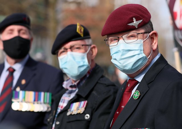 Military veterans outside Belfast Crown Court during the trial of Soldiers A and C. Photo: Jonathan Porter / PressEye