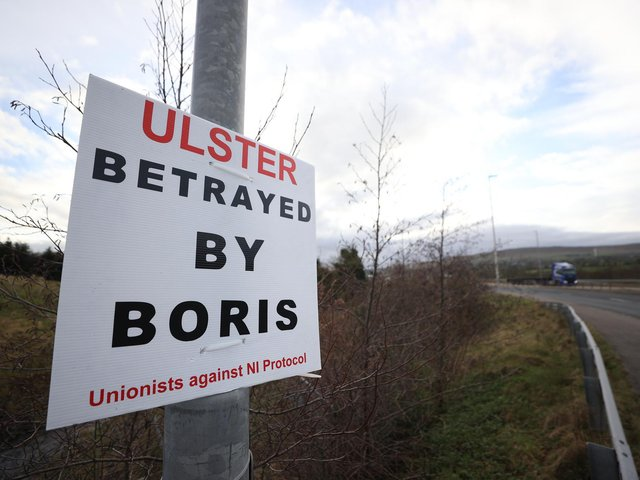 A sign near Larne about the Irish Sea border.