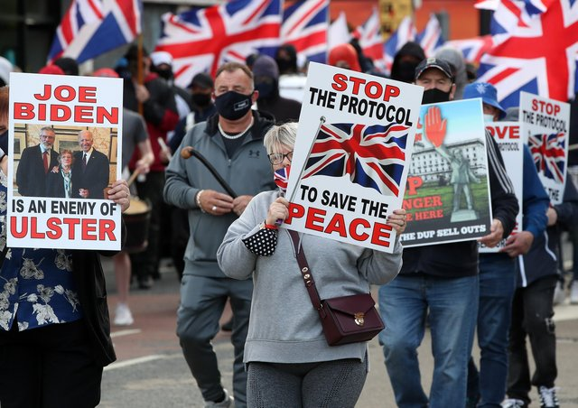 An anti-Northern Ireland Protocol rally on Thursday night. The march began at Woodvale Park and culminated behind Shankill Leisure Centre.