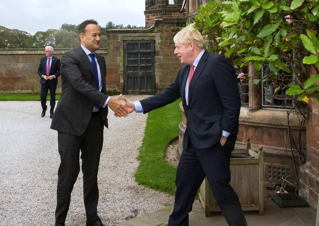 Leo Varadkar and Boris Johnson in Cheshire in 2019, where they agreed the Northern Ireland Protocol. Either the UK did not know what it agreed or it did understand, but agreed it under great political pressure