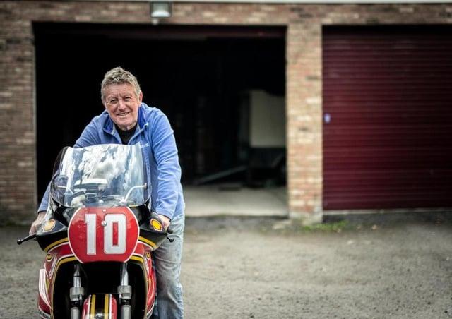 Seven-time Isle of Man TT winner Mick Grant with his ex-works Heron Suzuki XR69.