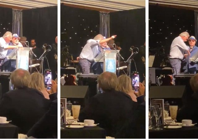 Images taken from a video of Ian Paisley Jr on stage with Van Morrison chanting against the health minister
