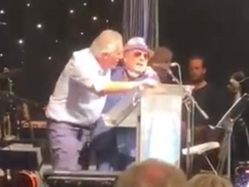A screenshot taken from the video that shows Ian Paisley Jnr and Sir Van Morrison roaring 'Robin Swann is very dangerous'.