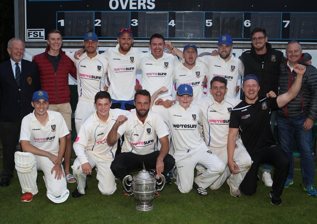 CIYMS celebrate Robinson Services Premier League title success in 2019. Pic by Pacemaker.