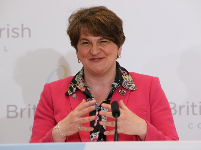 First Minister, Arlene Foster, pictured at the British Irish Council summit on Friday afternoon.