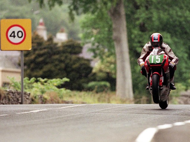 Can you name this Isle of Man TT rider, the year and section of the course?