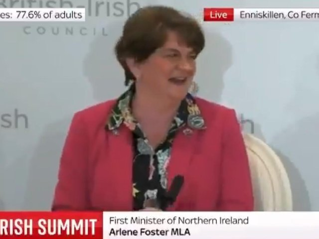 Outgoing First Minister, Arlene Foster, pictured singing 'That's Life' at British Irish Summit.