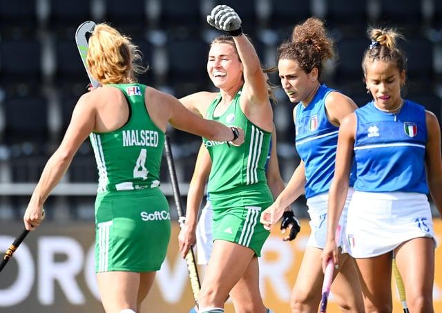 Ireland's Deirdre Duke celebrates the 3-0 with Zara Malseed.