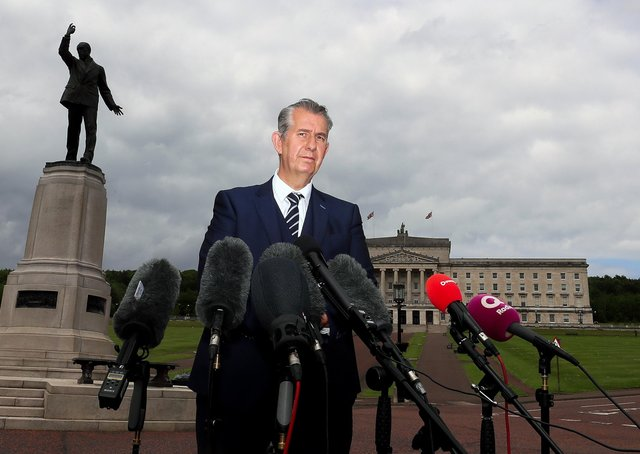 """DUP leader Edwin Poots at Carson's statue in Stormont after his meeting with Secretary of State Brandon Lewis on Thursday. Sinn Fein """"do not believe"""" Mr Poots will deliver on the Irish language act. Picture by Jonathan Porter/PressEye"""