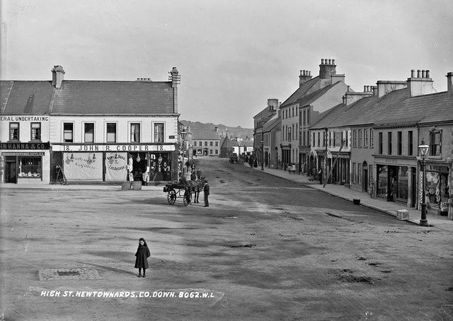 An old photograph showing High Street, Newtownards, Co Down. NLI Ref: L_ROY_08062. Picture: National Library of Ireland