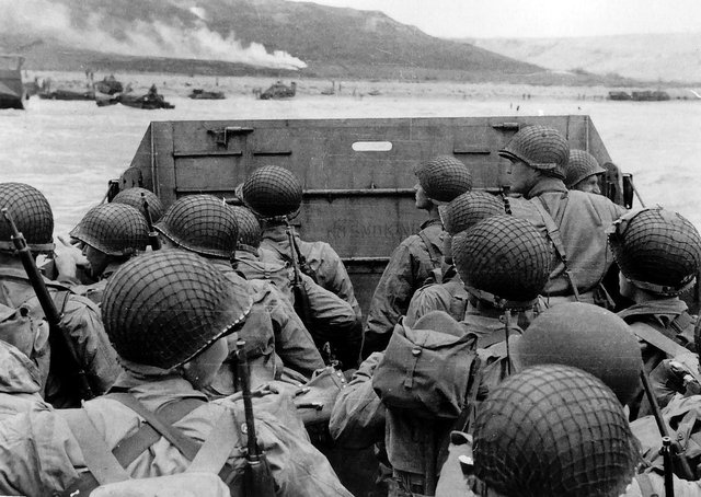 US troops in an LCVP landing craft approaching Omaha Beach on D-Day, 6 June 1944. Picture: Photograph from the Army Signal Corps Collection in the US National Archives