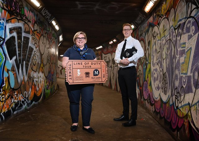 Caroline McComb from McCombs Coach Travel is joined by Cáelán McVeigh from the Grand Central Hotel to launch the new Line of Duty Experience