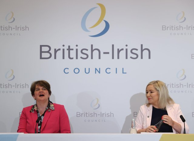 First Minister Arlene Foster and Deputy First Minister Michelle O'Neill at the British Irish Council summit in Lough Erne Resort in Enniskillen, Co Fermanagh on Friday where Mrs Foster sang. Photo credit: Liam McBurney/PA Wire