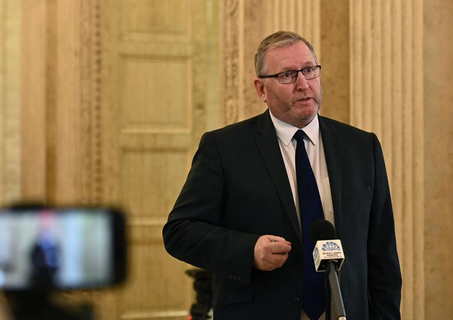 UUP leader Dough Beattie speaks to the media at Stormont on Monday , as Arlene Foster made her  final speech to the  NI Assembly as first minister.Pic Colm Lenaghan/Pacemaker