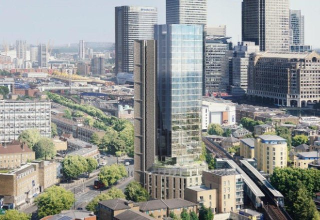 Artist's impression of the Premier Inn Hotel at West India Dock