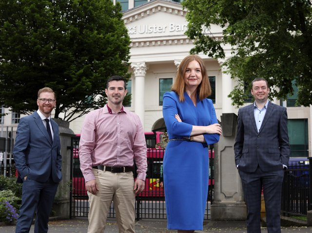 Simon Hamilton, Chief Executive, Belfast Chamber of Commerce, Stephen McPeake, CEO Civic Dollars, Dr. Jayne Brady, Belfast City Council's Digital Innovation Commissioner and John Ferris, Regional Ecosystem Manager, Ulster Bank