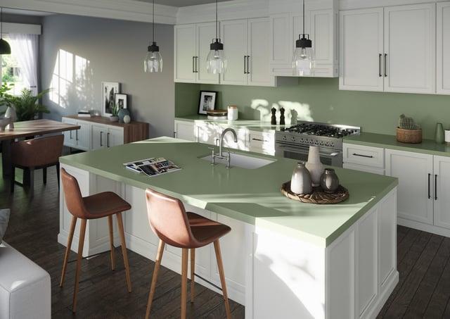 Cosentino UK's Silestone Sunlit Days in Posidonia Green Kitchen.