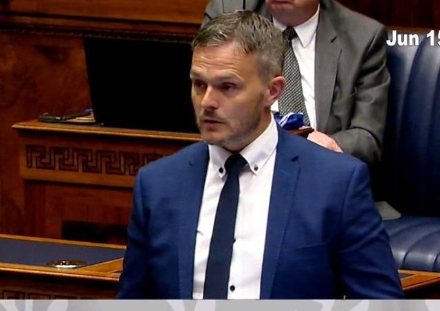 Robbis Butler MLA speaks in a Stormont debate on Irish language translations of the assembly business. Tuesday June 15 2021. Screengrab from niassemblytv