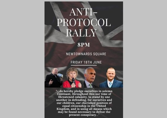 Poster advertising a rally against the Northern Ireland Protocol to be held in Newtownards on Friday. Sent in by Kate Hoey, one of the participants