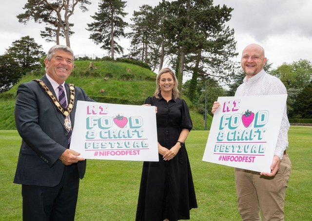 The Mayor of Antrim and Newtownabbey, Councillor Billy Webb, Castle Mall Centre Manager, Pamela Minford and Events & Operations Manager of Urban Events NI, Thomas Ferris, launch Antrim's first ever Food & Craft Festival