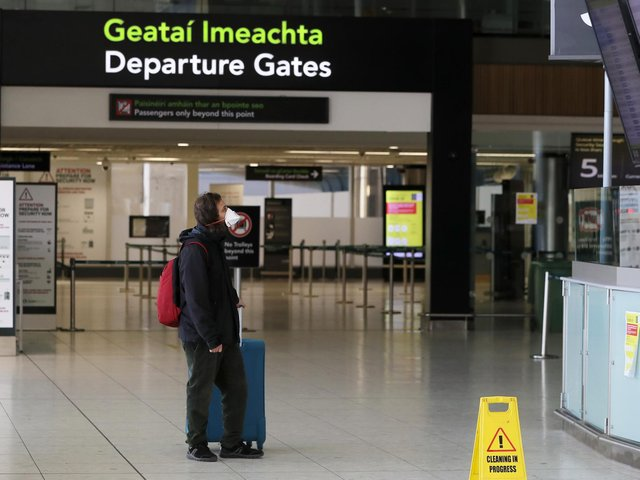 A traveller pictured in Dublin Airport recently.
