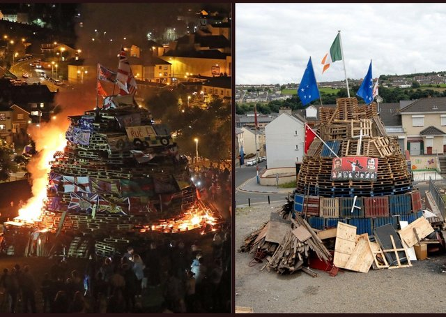 Previous bonfires in the Bogside and Fountain estates in Londonderry.