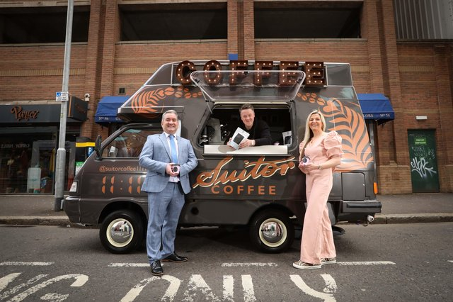 Graham Duff, Small Business Adviser at Danske Bank with Nichola and Chris Suitor of Suitor Coffee