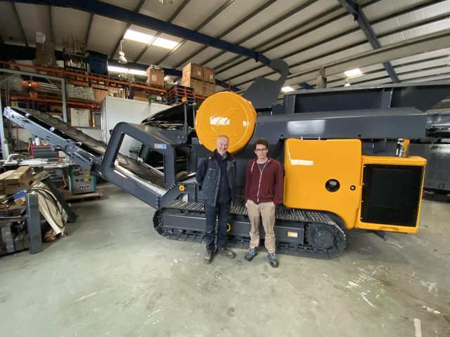 KrushTech Managing Director, Brendan McGrath and a member of Krushtech staff pictured with an EcoKrush 6040 machine