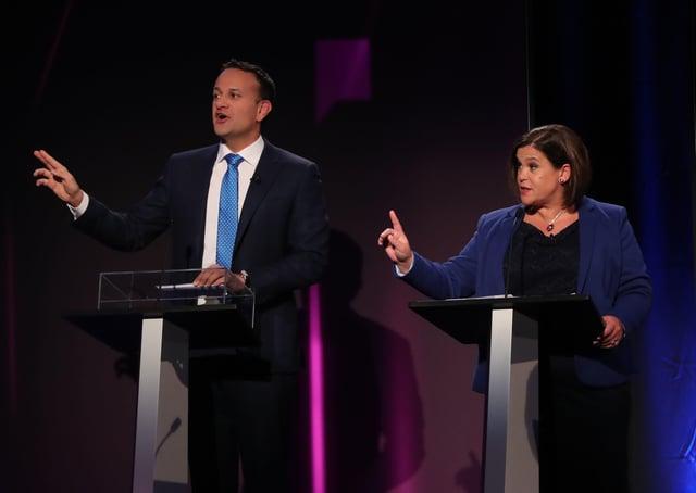 Leo Varadkar and Mary Lou McDonald in a debate last year. Mr Varadkar would like to be in cabinet with Sinn Fein, writes Tom Carew