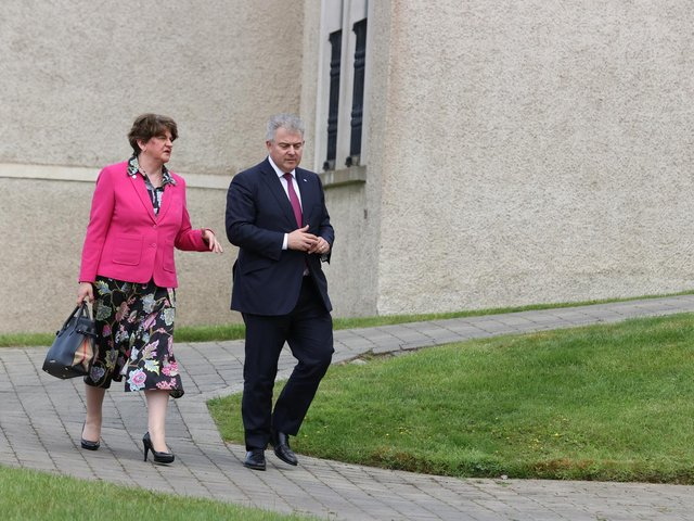 Brandon Lewis pictured with former First Minister, Arlene Foster, at the British Irish Council meeting in Co. Fermanagh last week.