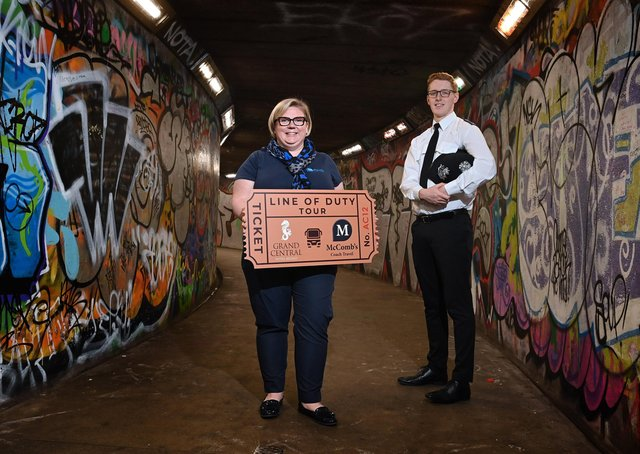 Caroline McComb from McCombs Coach Travel is joined by Cáelán McVeigh from the Grand Central Hotel to launch the new Line of Duty Experience. Photo by Stephen Hamiltonn / Press Eye