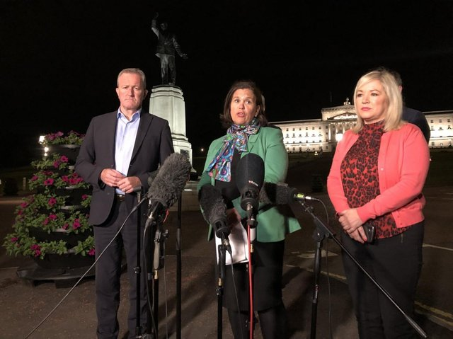 Mary Lou McDonald press conference beside Carson's statue on Stormont estate. She is flanked by party colleagues Michelle O'Neill and Conor Murphy. Picture: David Young/PA