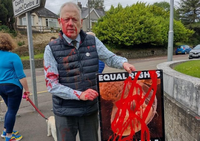 Police said they are treating the paint attack on an pro-life demonstrator in Coleraine as a hate crime.