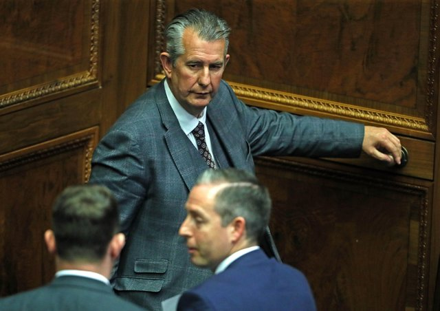 DUP leader Edwin Poots (top) leaving the Chamber after nominating Paul Givan (bottom right) as First Minister, in the Stormont Assembly in Parliament Buildings in Belfast. Picture date: Thursday June 17, 2021.