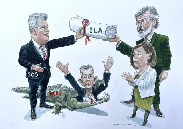 Brandon Lewis hands Mary Lou McDonald and Gerry Adams of Sinn Fein their Irish language act over the head of Edwin Poots. Cartoon by Brian John Spencer
