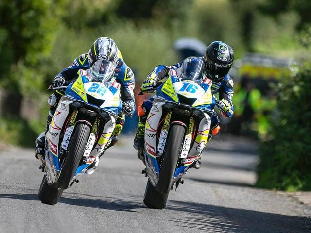 Burrows Engineering/RK Racing riders Paul Jordan (21) and Mike Browne (16).