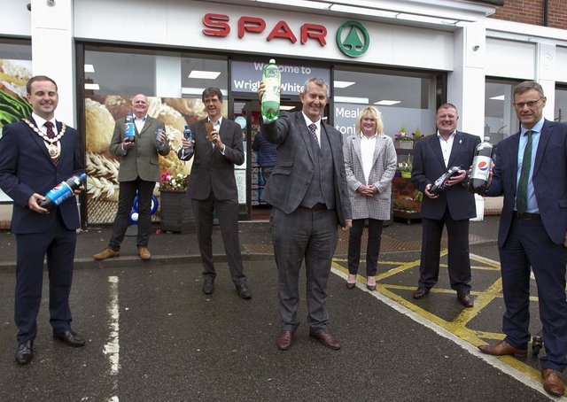 Environment Minister Edwin Poots launching the pilot scheme in Whitehead last October.
