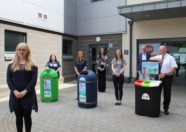 Media student Mollie Richardson whose designs appear on the babbling bins with Nicola Fitzsimons, Live Here Love Here, Tracey Connolly, LCCC, Natasha Lloyd, SERC,  Grace Lundy, Translink, and Terence Brannigan, SERC and Mark Glover, Translink