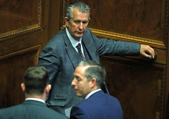 Edwin Poots just after nominating Paul Givan as First Minister on Thursday