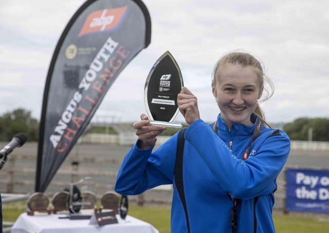 CAFRE student Molly Bradley, Armagh accepts her 'Overall Outstanding Achiever' award at ABP's Angus Youth Challenge' Award Ceremony at Balmoral Park