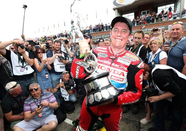 John McGuinness claimed his 23rd and most recent Isle of Man TT victory in the 2015 Senior.
