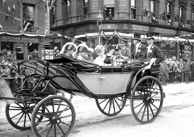 King George V and Queen Mary passing through the streets of Belfast when they opened the new Northern Ireland Parliament on June 22 1921, the day that many consider to be in effect the date the state of Northern Ireland came into being