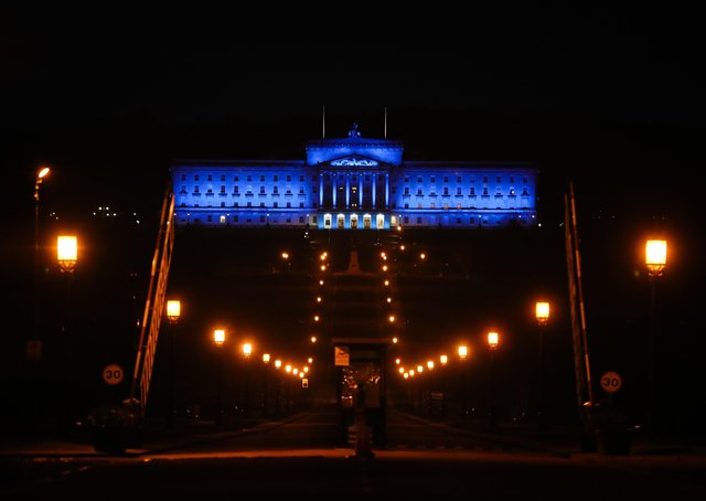Stormont in Belfast was lit up in blue in support for key workers in April 2020.Photo by Kelvin Boyes / Press Eye.