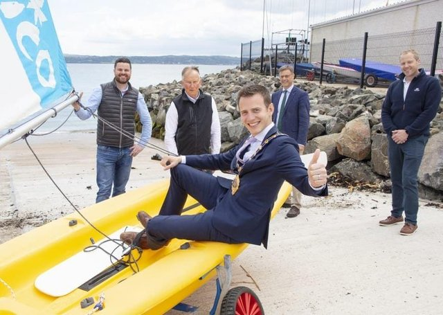 The former Mayor of Mid and East Antrim, Councillor Peter Johnston, visited Carrickfergus Sailing Club to view the new widened slipway.