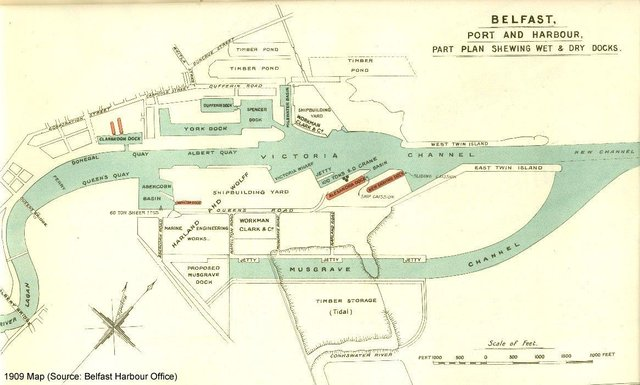 1909 map of Belfast Port showing Workman Clark's yards on both sides of the Lagan